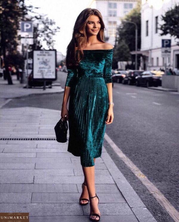 Заказать зеленое женское велюровое платье