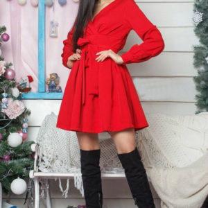 Заказать красное женское платье из креп костюмка