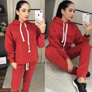 Заказать красный женский спортивный костюм на флисе