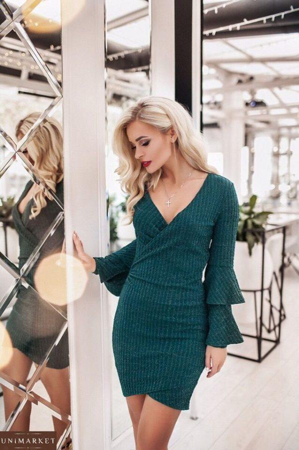 Купить зеленое женское платье с люрексовой нитью