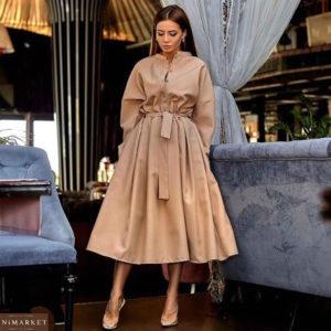 Купить бежевое длинное женское платье из габардина