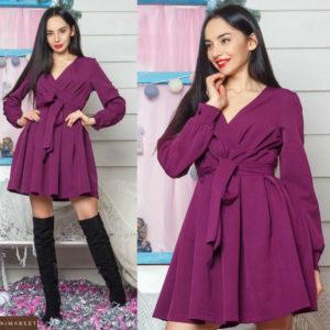Купить фиолетовое женское платье из креп костюмка