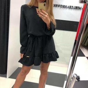 Купить черное женское платье из костюмной ткани