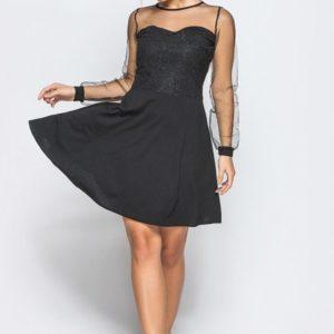 Купить черное женское платье из креп-дайвинга