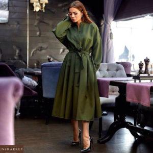 Приобрести зеленое женское длинное платье из габардина
