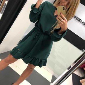 Приобрести зеленое платье из костюмной ткани для женщин