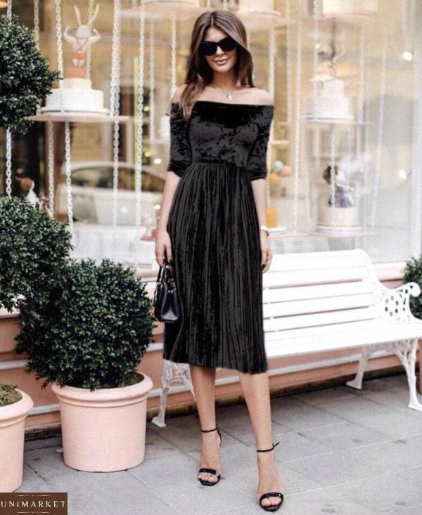 Приобрести черное женское велюровое платье