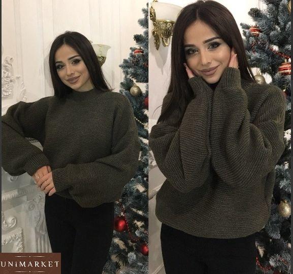 Зеленый женский шерстяной свитер плотной вязки купить в интернет-магазине