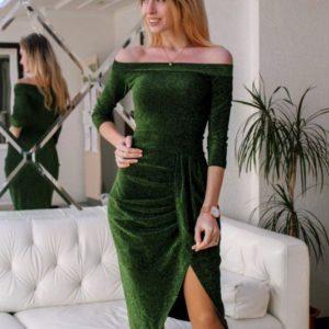 Купить в интернет-магазине платье вечернее из люрекса зеленого цвета