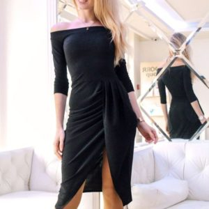 Заказать женское черное платье вечернее из люрекса недорого
