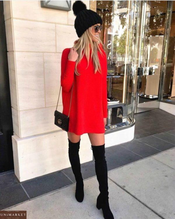 Приобрести красное женское платье из ангоры арктика
