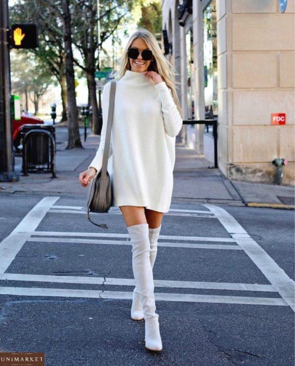 Заказать белое женское платье из ангоры арктика