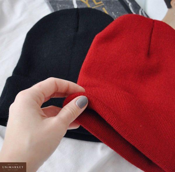 Купить вязаную женскую удлинённую шапку из акрила черного цвета оптом Украина