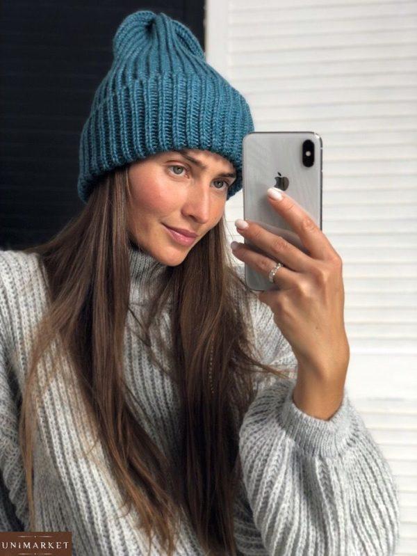 Купить в интернет-магазине: Теплая синяя женская шапка на зиму