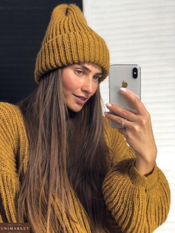 Теплая желтая женская шапка на зиму - заказать со скидкой
