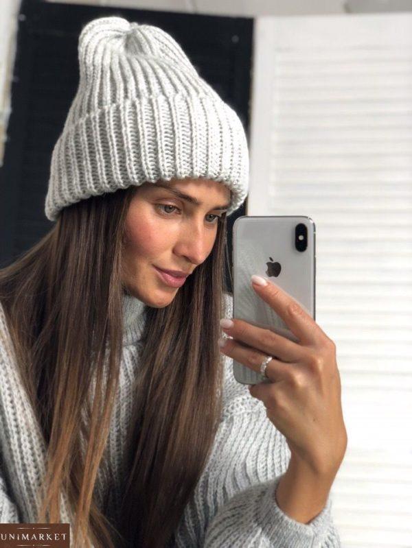 Женская белая теплая шапка на зиму - купить недорого