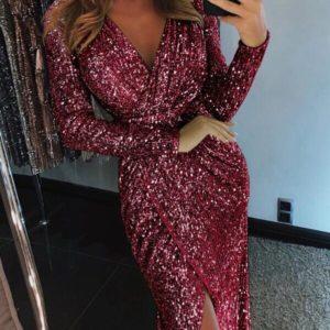 Купить женское вечернее платье с потайной молнией цвета бордо дешево