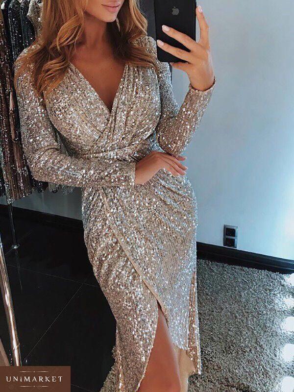Женское вечернее платье с потайной молнией цвета пудры купить недорого