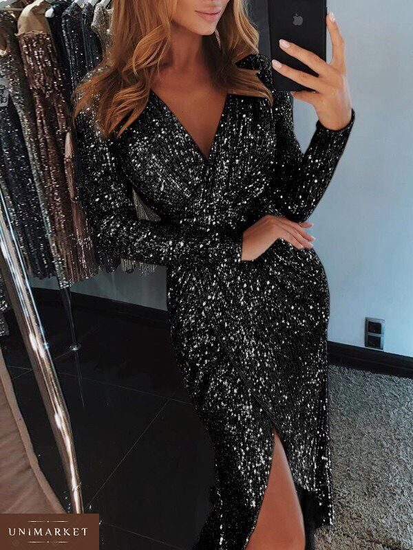 Купить черное женское вечернее платье с потайной молнией недорого