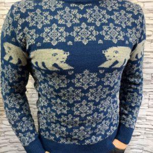 Купить синий мужской свитер с отворотом