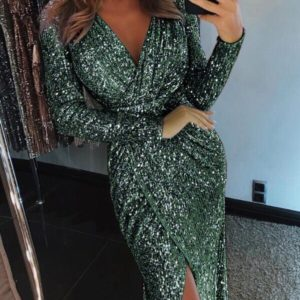 Заказать женское вечернее платье с потайной молнией зеленого цвета оптом Украина