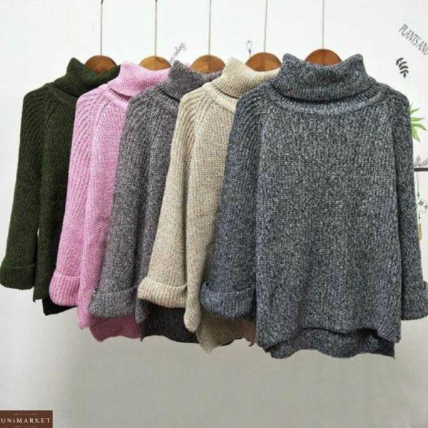Купить черный женский свитер с горлом