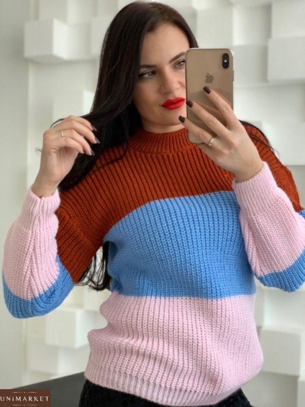 Купить розовый женский вязаный свитер из акрила