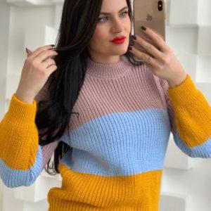 Заказать желтый женский вязаный свитер из акрила