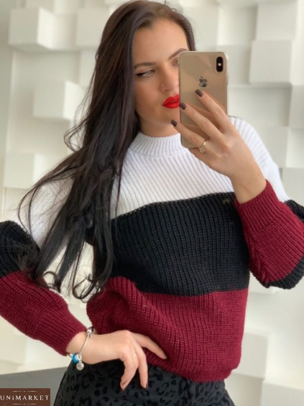 Приобрести красный женский вязаный свитер из акрила