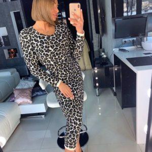 Заказать женское зимнее леопардовое платье миди