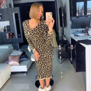 Купить в интернет-магазине женское леопардовое платье миди