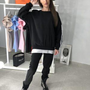 Заказать женский черный cпортивный костюм хлопковый оптом Украина
