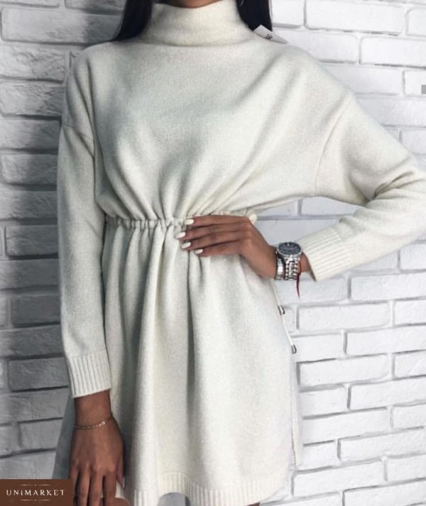 Купить в интернет-магазине белое платье-туника люрекс оптом Украина
