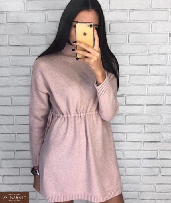 Купить розовое платье-туника люрекс на праздник оптом