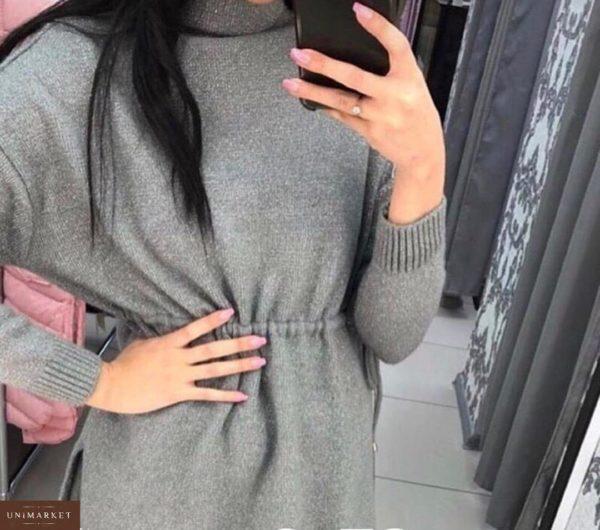 Купить женское платье-туника люрекс серого цвета дешево