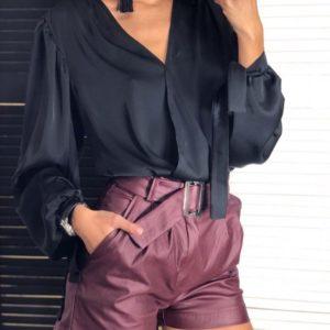 Заказать женскую черную блузу из шелка