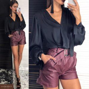 Женские шорты матированные цвета марсала купить недорого