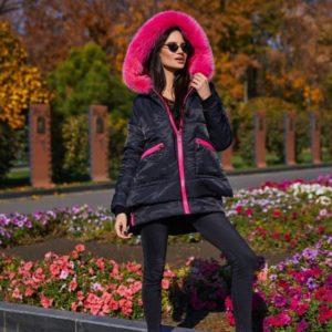 Купить женскую парку из плащевки черного цвета дешево