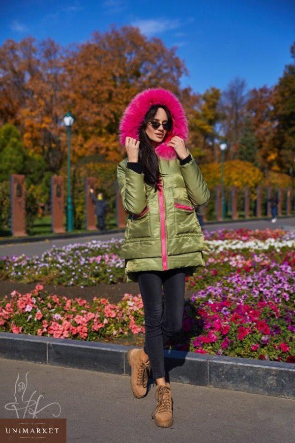 Купить в интернет-магазине женскую парку на основе коттона цвета хаки