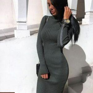 Купить женское платье гольф серого цвета дешево