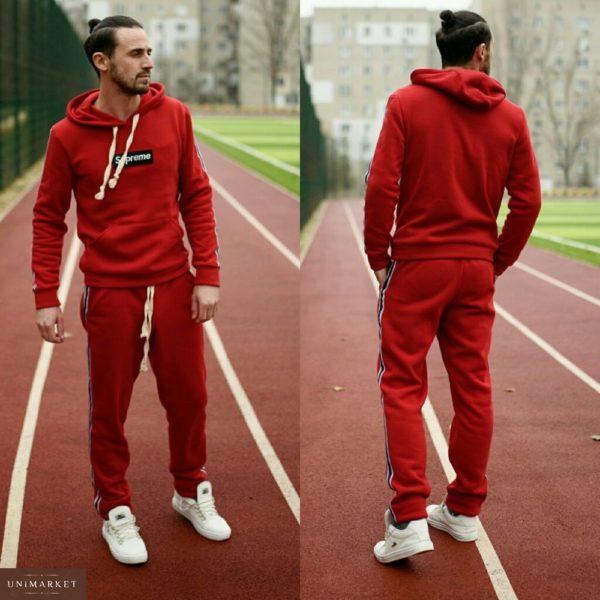 Заказать мужской спортивный костюм supreme большого размера красного цвета дешево