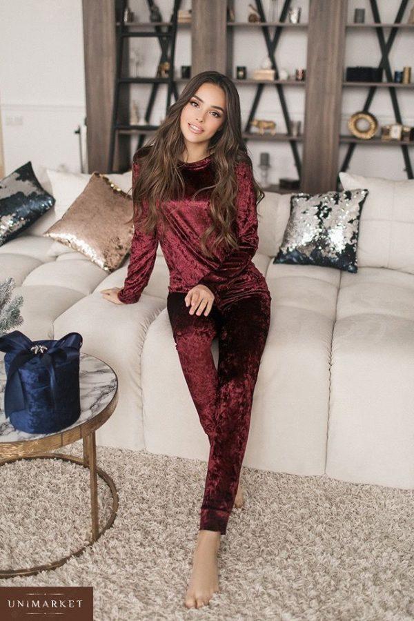 Заказать женский бордовый прогулочный костюм из стрейчевого велюра оптом Украина