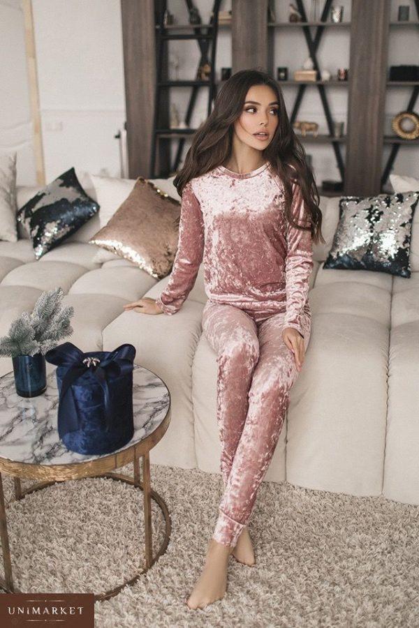 Купить женский прогулочный костюм из стрейчевого велюра розового цвета дешево