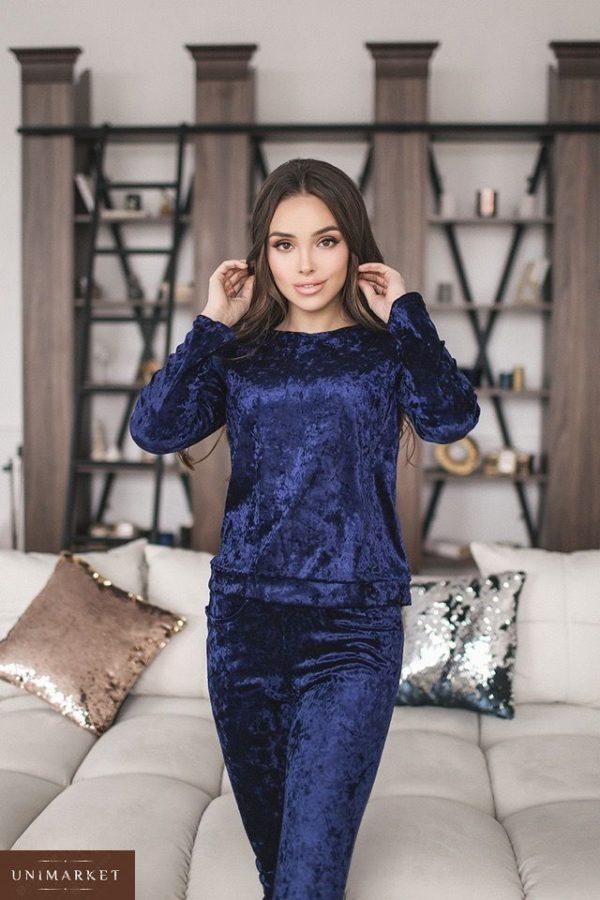 Купить в интернет-магазине темно-синий прогулочный костюм из стрейчевого велюра