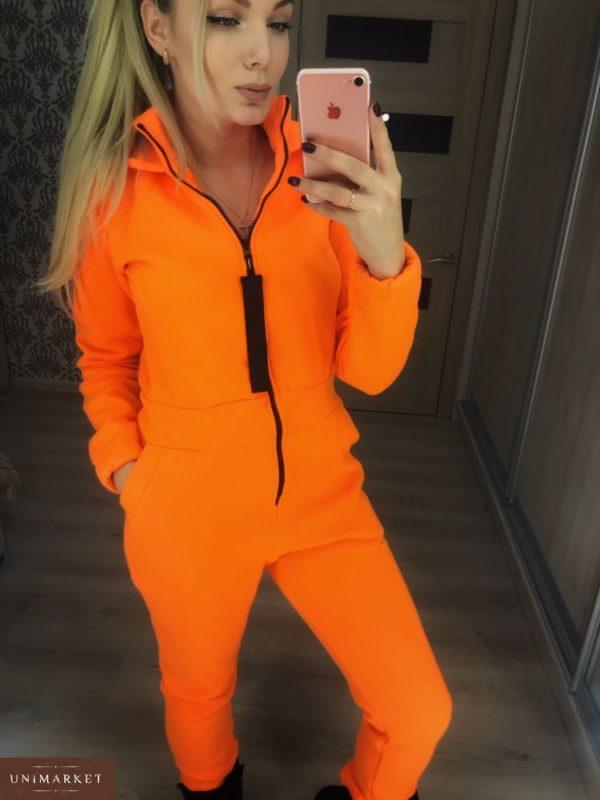 Купить в интернет-магазине женский комбинезон на молнии с лентой оранжевого цвета