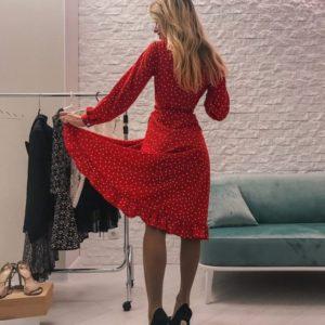 Купить красное женское платье в горошек дешево