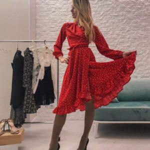 Женское платье в горошек красное купить недорого