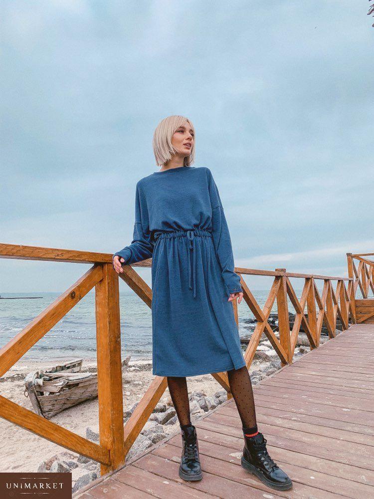 c9e7595ba274e7 Замовити жіноче плаття з ангори з поясом блакитного кольору недорого