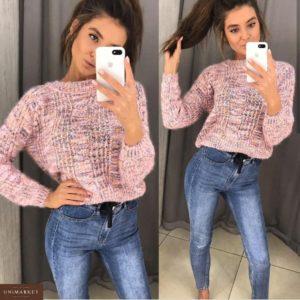Купить недорого женский cвитер вязаный розового цвета