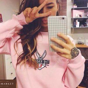 Приобрести женский свитшот теплый с принтом на флисе нежно-розовый дешево